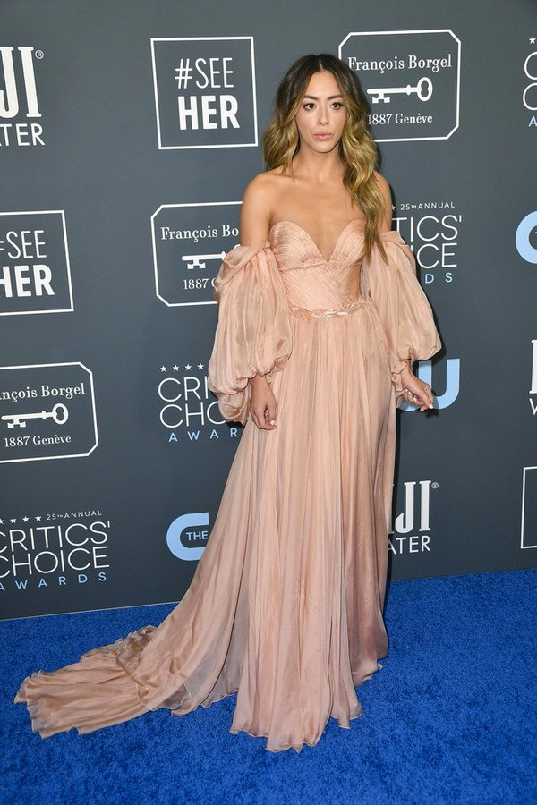 Chloe Bennet wore a #YANINA Spring 2019 Couture gown to the 2020 Critics' Choice Awards