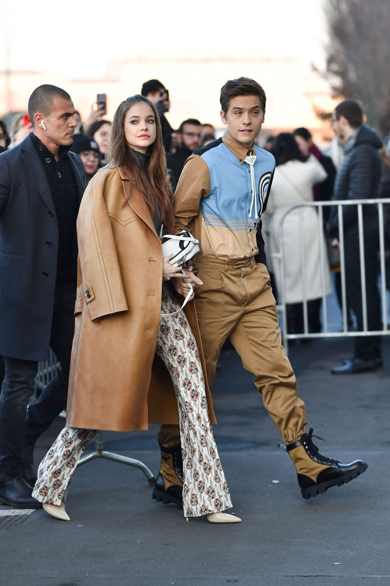 barbara-palvin-and-dylan-sprouse-arriving-prada-fall-2020-show-in-milan