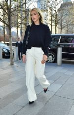 Dua Lipa  In Off- White  Trousers Out In New York
