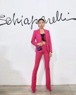 Jaime Xie In Hot Pink Suit @   Schiaparelli Haute Couture Spring / Summer 2020