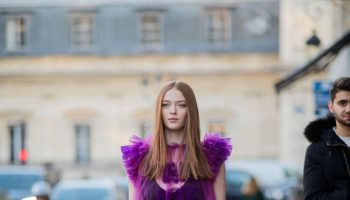 larsen-thompson-outside-viktor-and-rolf-spring-summer-2020-show-show-in-paris
