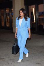 Priyanka Chopra In Blue Suit @  Newark Airport in New York