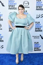 Beanie Feldstein wore a custom #Markarian blue silk faille puff sleeve top + pleated skirt to the 2020 Film Independent Spirit Awards