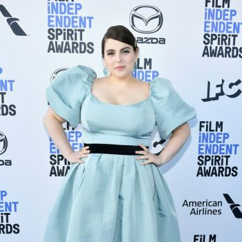 beanie-feldstein-wore-a-custom-markarian-blue-silk-faille-puff-sleeve-top-pleated-skirt-to-the-2020-film-independent-spirit-awards