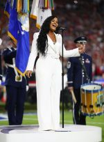 Demi Lovato In Sergio Hudson Sings the U.S. National Anthem  @ Super Bowl 2020