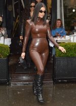 Kourtney Kardashian In Balmain  Latex Outfit to Kanye West's Church Service