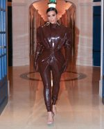 Kim Kardashian Wears Balmain Latex Outfit Out In Paris