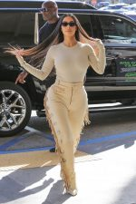 Kim Kardashian's Fringed Nude Leather Pants @  Nordstrom in Woodland Hills