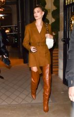 Hailey Rhode Bieber  In Mulberry Blazer Dress  @   Ferdi Restaurant in Paris