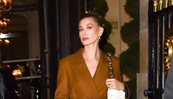 hailey-rhode-bieber-in-mulberry-blazer-dress-ferdi-restaurant-in-paris
