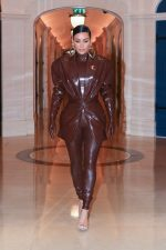 Kim Kardashian in Balmain FW20 Latex Outfit Out In  Paris