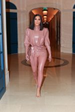 Kim Kardashian in  Balmain Latex  Outfit Out In Paris