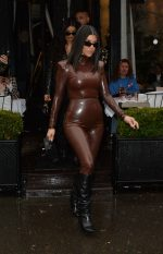 Kourtney Kardashian in Balmain FW20 Latex Outfit  Out In  Paris