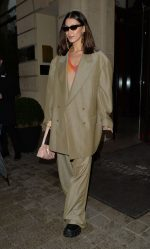 Bella Hadid  Wears Oversized Suit  Leaving Her Hotel in Paris