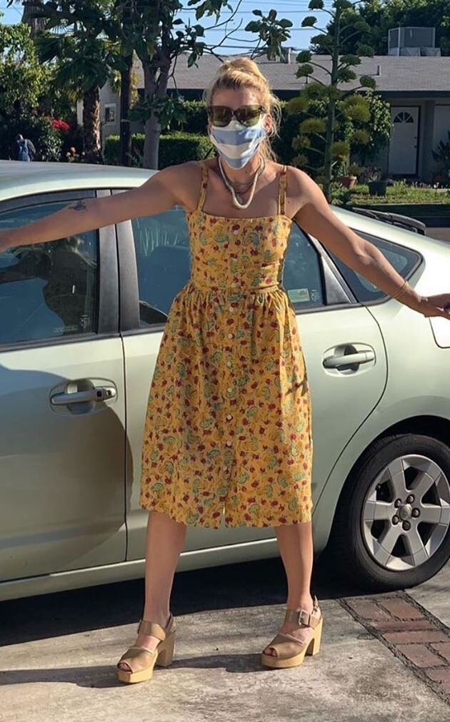 busy-philipps-in-floral-hvn-dress-mask-social-distancing