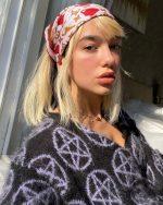 Dua Lipa  In  Ashley Williams  Sweater & Louis Vuitton Headscarf – Instagram