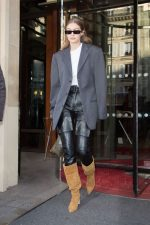 Gigi Hadid In Leather Cargo Pants  Leaving the Royal Monceau Hotel in Paris