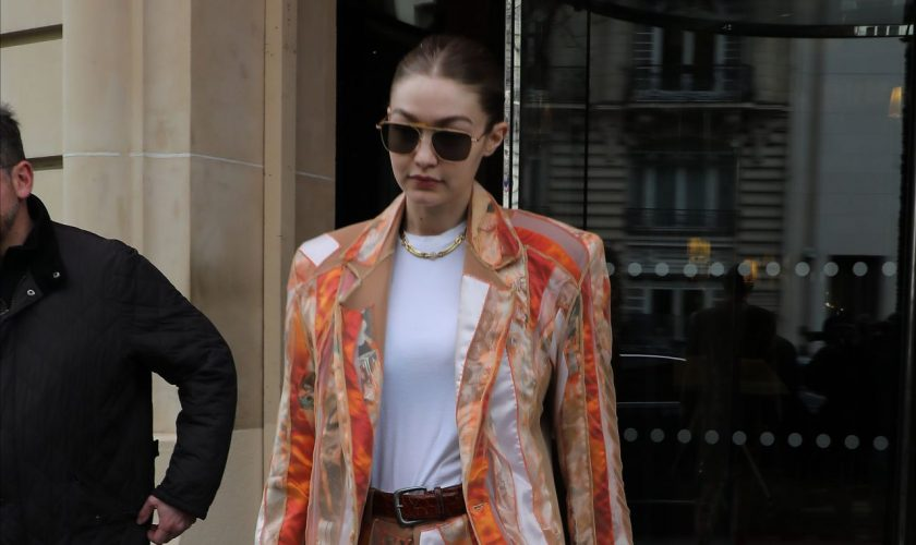 gigi-hadid-in-printed-suited-leaving-the-royal-monceau-hotel-in-paris