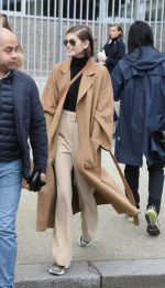 Kaia Gerber  In Oversized Coat &  Nanushka –  Out In Paris
