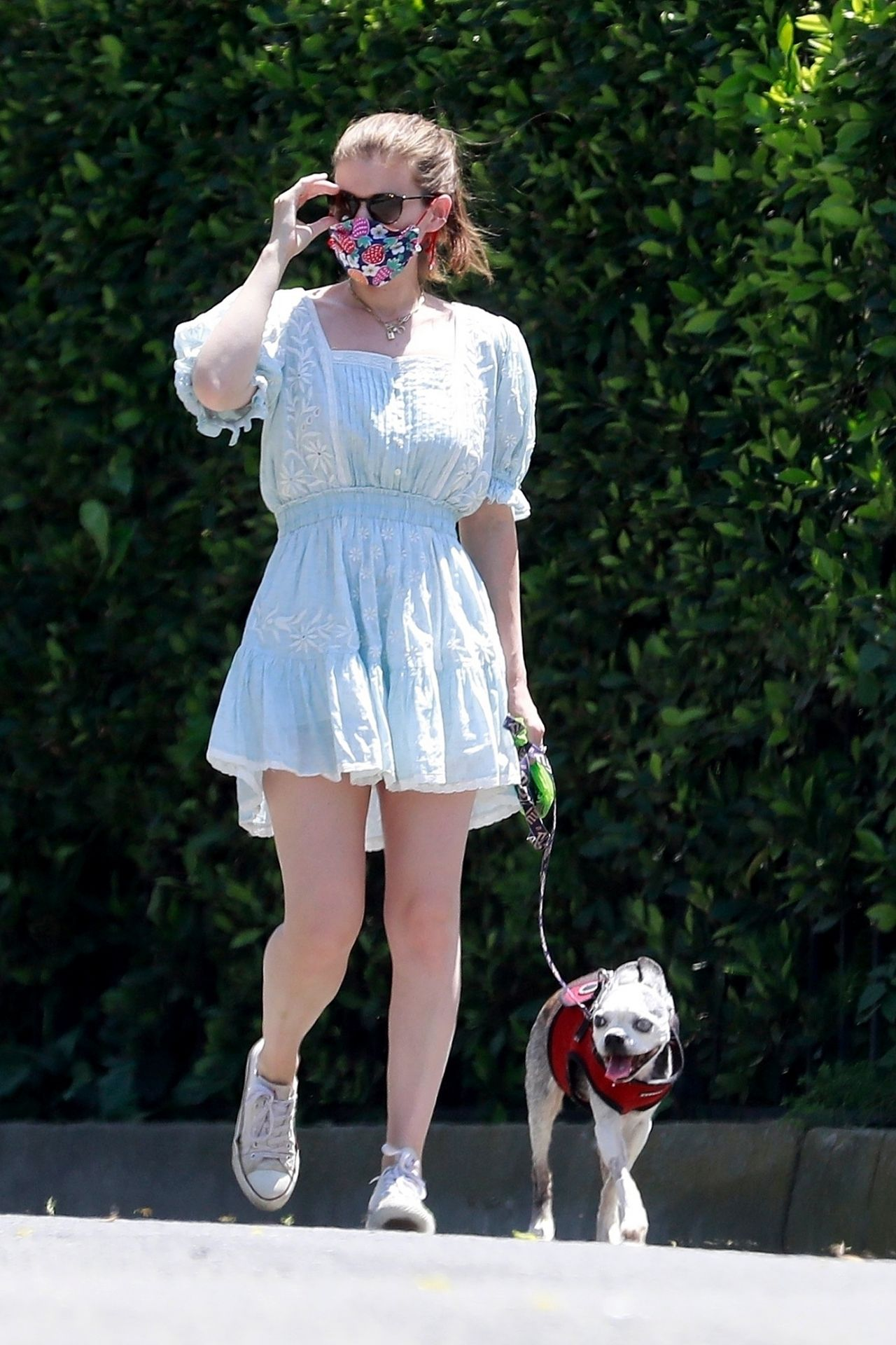 kate-mara-wearing-floral-face-mask-summer-dress-los-feliz-in-la