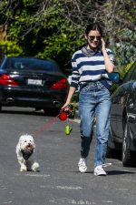 Lucy Hale  In Stripe Top  Walking Her Dog In Studio City