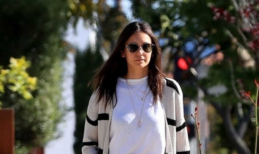 nina-dobrev-in-haoduoyi-cardigan-walking-her-dog