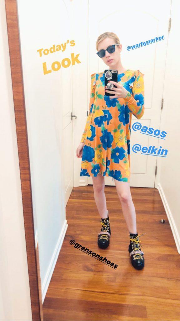 Emma Roberts In Asos Dress Quarantine Style Fashionsizzle