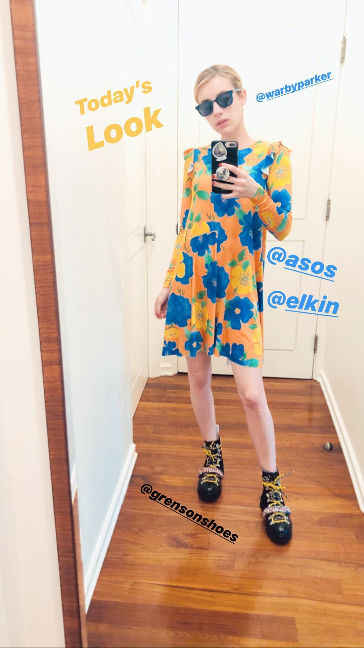 emma-roberts-in-asos-dress-quarantine-style