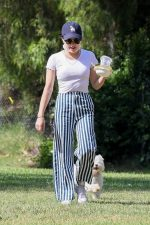 Lucy Hale Walking Her Dog  In the Park in Los Angeles 05/16/2020