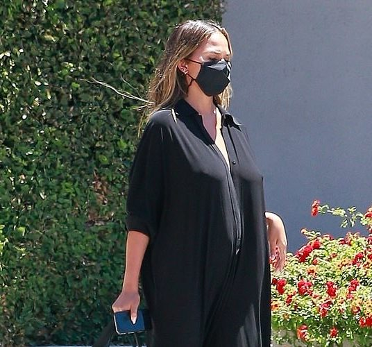 chrissy-teigen-in-black-jumpsuit-cravings-headquarters-july-31-2020