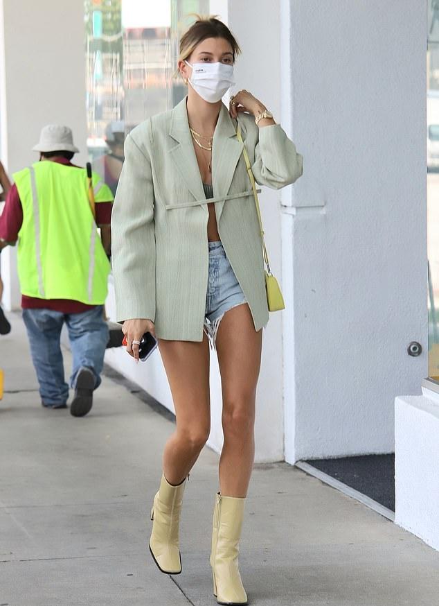 Hailey Bieber In Oversized Blazer & Shorts Out In in LA – Fashionsizzle