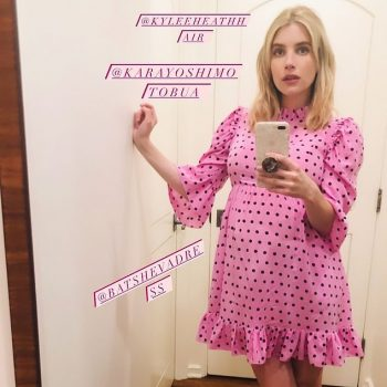 emma-roberts-in-batsheva-dress-showing-her-baby-bump-on-instagram