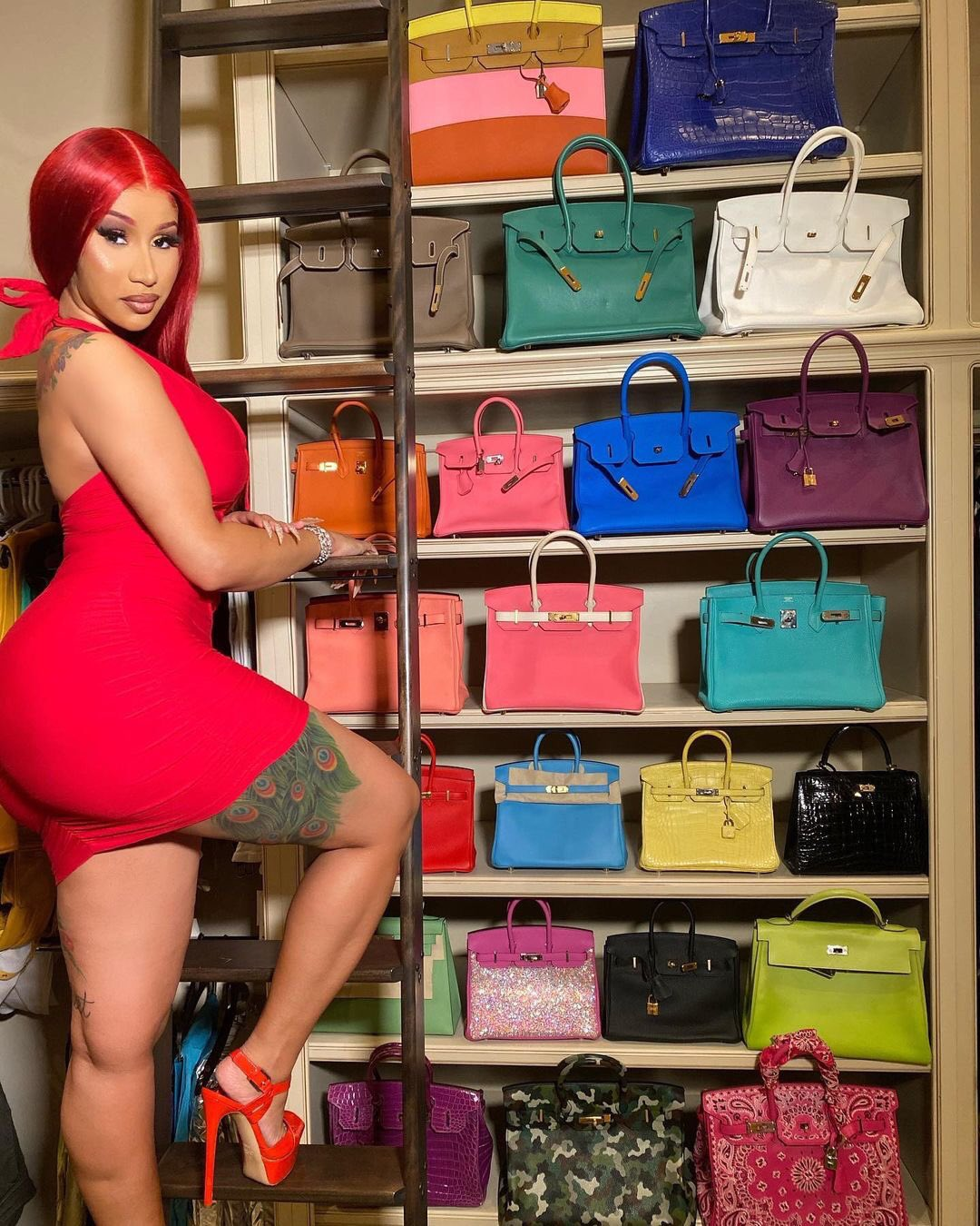 cardi-b-rocks-red-dress-shows-her-birkin-collection
