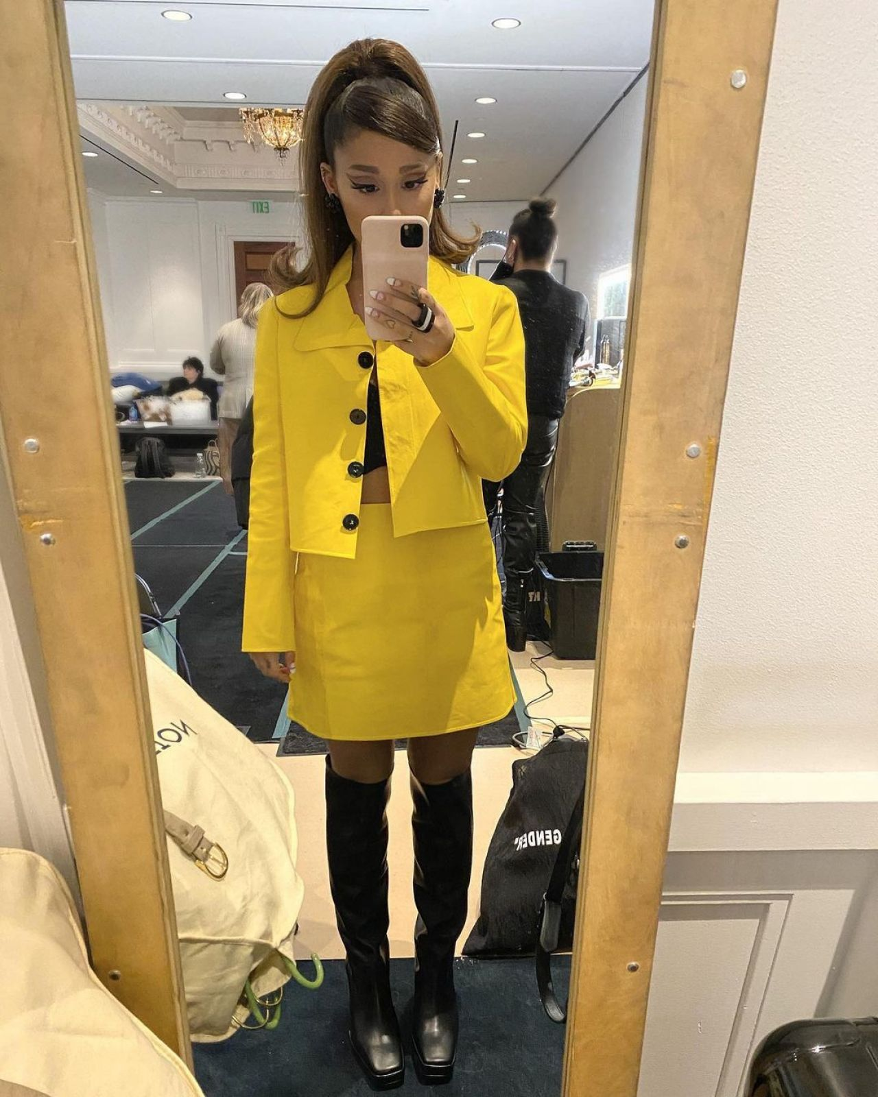 ariana-grande-in-yellow-skirt-suit-for-positions-music-video