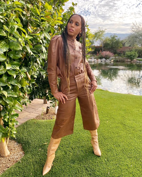 kerry-washington-wore-frame-leather-outfit-for-backyard-photoshoot