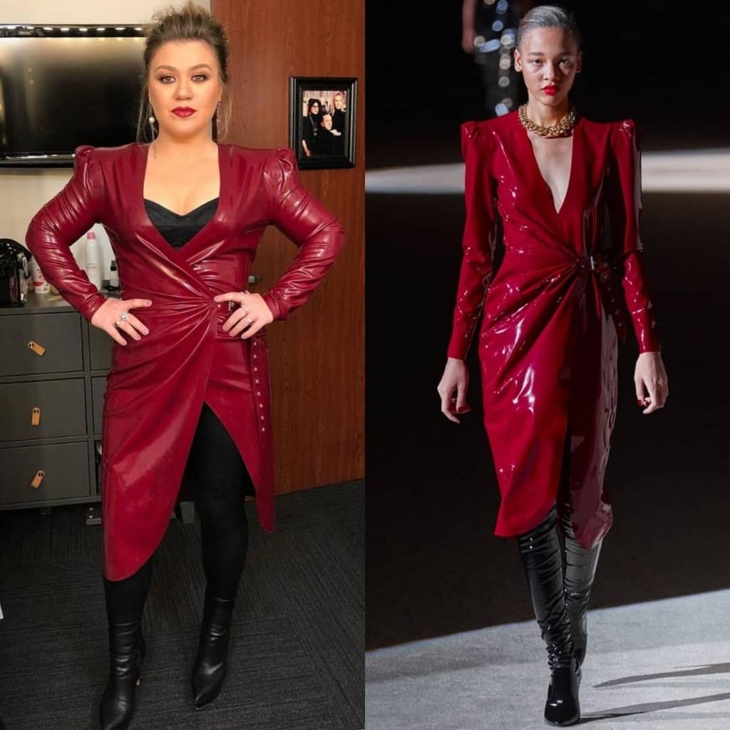 kelly-clarkson-wore-saint-laurent-latex-wrap-dress-the-voice