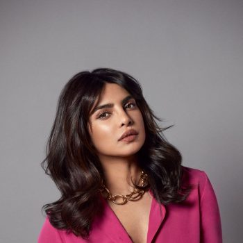 priyanka-chopra-jonas-wearing-st-john-hot-pink-suit-promoting-her-hair-care-line