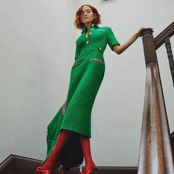 zoey-deutch-wore-green-gucci-tweed-dress-instagram