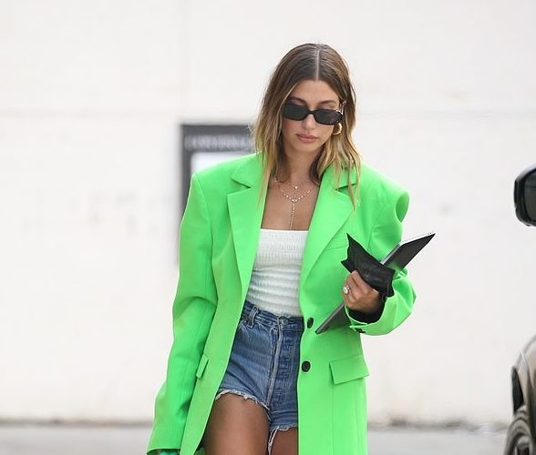 hailey-bieber-wore-kwaidan-editions-neon-blazer-out-in-los-angeles