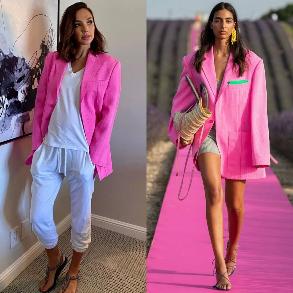 gal-gadot-wore-pink-jacquemus-blazer-with-sweatpants-while-promoting-documentary-on-zoom