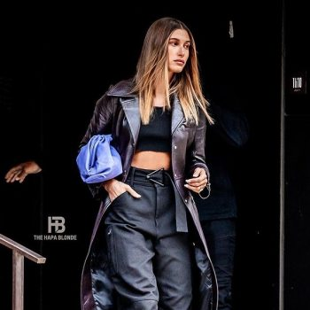 hailey-bieber-wore-courreges-leather-trench-coat-new-york-city