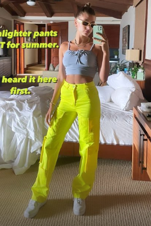 hailey-bieber-wore-christopher-john-rogers-pants-instagram-story-june-5-2021