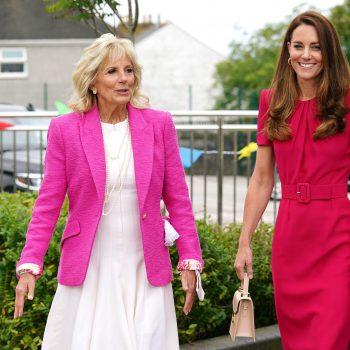 dr-jill-biden-wearing-lagence-pink-blazer-g7-summit-with-duchess-of-cambridge