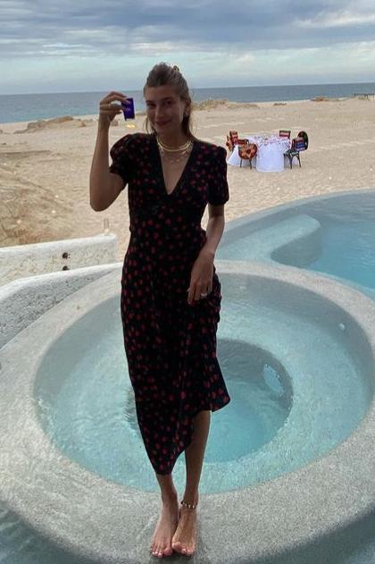 hailey-bieber-wore-rixo-gemma-dress-instagram-june-14-2021