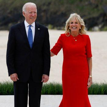 jill-biden-wore-a-red-brandon-maxwell-dress-g7-summit-at-cornish-beach