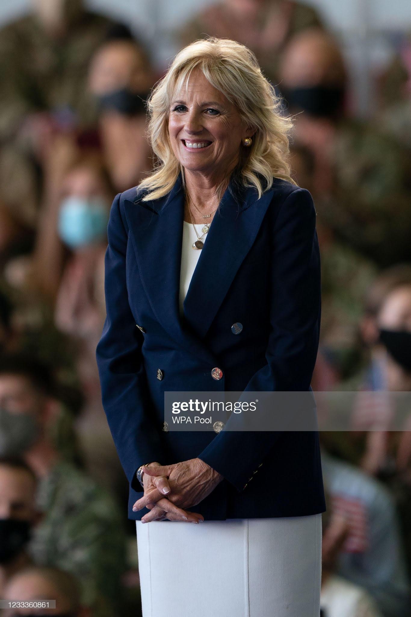 first-lady-dr-jill-biden-wore-michael-kors-collection-raf-mildenhall-in-suffolk-uk