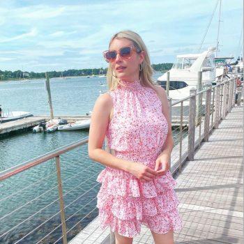 emma-roberts-pink-ruffle-dress-instagram-august-20-2021
