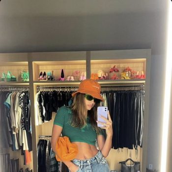 hailey-bieber-green-tropic-of-c-blouse-instagram-story-august-14-2021