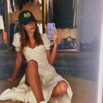 hailey-bieber-wears-reformation-dress-instagram-story-august-15-2021