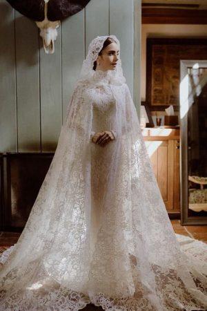 lily-collins-gets-married-wearing-ralph-lauren-wedding-gown